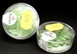 Perles carres en verre, 12x12 mm, boite 12 pces, vert tilleul
