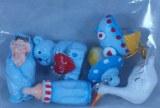 Assortiment de bebe en polyresine, 2-3 cm, sct.-LS 6 pces, bleu clair