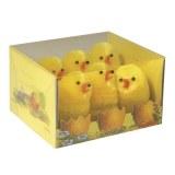 Lot de 6 petits poussins de pâques en chenille de soie jaune, hauteur 5cm, dans une boite en pvc