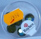 Perles en verre facettees, 10 mm a¸, boite 5 pces, olive