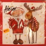 Serviettes, 33x33 cm, paquet 20 pces, pere Noel + renne