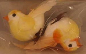Petit oiseau, 4,5 cm, sachet a 2 pces, jaune/orange