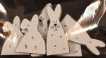 Miniatures en bois: Lapins, 3-4 cm, sct.-LS 6 pces, blanc