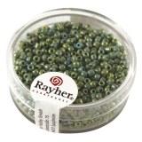 Rocailles. 2 mm ø. opaques lustre boîte 17g vert