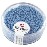 Rocailles. 2 mm ø. opaques boîte 17g bleu clair