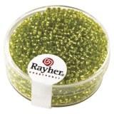 Rocailles. 2 mm ø. avec garniture argent boîte 17 g vert clair
