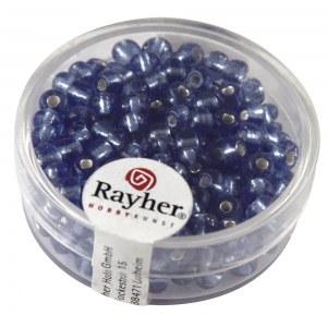 Rocailles avec garniture d'argent. 4 mm boite 17 g bleu clair