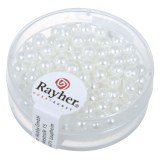 """Perles en verre """"Renaissance"""". 4 mm ø boîte 85 pces blanc neige"""