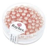 """Perles en verre """"Renaissance"""". 4 mm ø boîte 85 pces rose coquille"""