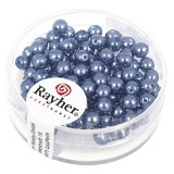 """Perles en verre """"Renaissance"""". 4 mm ø boîte 85 pces bleu azur"""