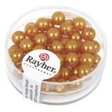 """Perles en verre """"Renaissance"""". 6 mm ø boîte 45 pces jaune d`or"""