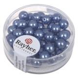 """Perles en verre """"Renaissance"""". 6 mm ø boîte 45 pces bleu azur"""