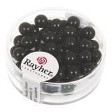 """Perles en verre """"Renaissance"""". 6 mm ø boîte 45 pces noir"""