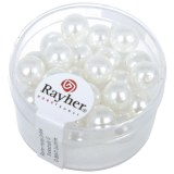 """Perles en verre """"Renaissance"""". 8 mm ø boîte 25 pces blanc neige"""