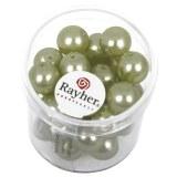 """Perles en verre """"Renaissance"""". 10 mm ø boîte 35 pces jade"""