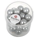 """Perles en verre """"Renaissance"""". 10 mm ø boîte 35 pces gris argente"""