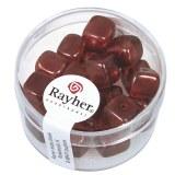 Perles en verre-Cube 8x9 mm. boite 18 pieces rouge Bourgogne