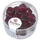 Perles en verre-Cube 8x9 mm. boite 18 pieces violet