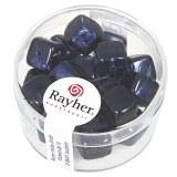 Perles en verre-Cube 8x9 mm. boite 18 pieces bleu nuit
