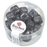 Perles en verre-Cube 8x9 mm. boite 18 pieces anthracite