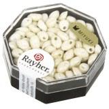 Perles Magatama. opaques. lustres 4x7 mm. oblongues. boite 9 g ivoire