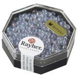 Miyuki-Perle-Drop. transparente. arc en  ciel. 3.4 mm. boite 8 g lilas tendre