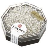 Delica-rocailles. 1.6 mm avec garniture argent cristal de roche. boite 6 g