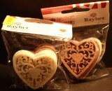 Ornement en feutrine: Coeur, 5 cm, sct.-LS 6 pces, teintes creme/marron