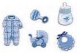 Applications Bebe, 2,5-4 cm, sct.-LS 5 motifs, bleu clair