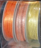 Ruban de satin, 2 mm, boite 3 rouleaux a  6 m, orange
