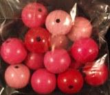 Perles en bois, polies, 16 mm a¸, sct.-LS 15 pces, teinte rose fonce
