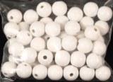 Perles en bois, polies, 10 mm a¸, rondes, sct.-LS 52 pces, blanc