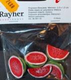 Petits objets en polyresine: Melons ou pasteques, 2,5x1,5 cm, 2 sortes, sct.-LS 5 pces