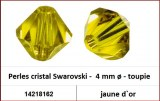 Perles cristal Swarovski -  4 mm a¸ - toupie - jaune d`or