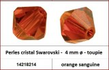 Perles cristal Swarovski -  4 mm a¸ - toupie - orange sanguine