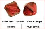 Perles cristal Swarovski -  4 mm a¸ - toupie - rouge carmin