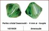 Perles cristal Swarovski -  4 mm a¸ - toupie - emeraude