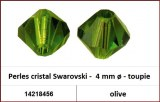 Perles cristal Swarovski -  4 mm a¸ - toupie - olive