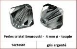 Perles cristal Swarovski -  4 mm a¸ - toupie - gris argente
