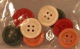 Boutons en bois, 1,5 cm a¸, sct.-LS 8 pces, peint, 4 couleurs