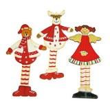 Trio de Noel en bois 4cm sachet 24 pieces