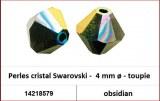 Perles cristal Swarovski -  4 mm a¸ - toupie - obsidian
