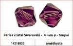 Perles cristal Swarovski -  4 mm a¸ - toupie - amethyste