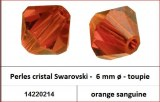 Perles cristal Swarovski -  6 mm a¸ - toupie - orange sanguine