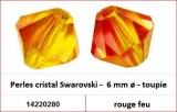 Perles cristal Swarovski -  6 mm a¸ - toupie - rouge feu