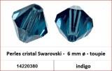 Perles cristal Swarovski -  6 mm a¸ - toupie - indigo