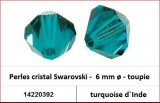 Perles cristal Swarovski -  6 mm a¸ - toupie - turquoise d`Inde