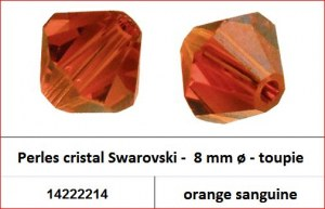 Perles cristal Swarovski -  8 mm a¸ - toupie - orange sanguine