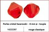 Perles cristal Swarovski -  8 mm a¸ - toupie - rouge classique