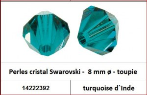 Perles cristal Swarovski -  8 mm a¸ - toupie - turquoise d`Inde